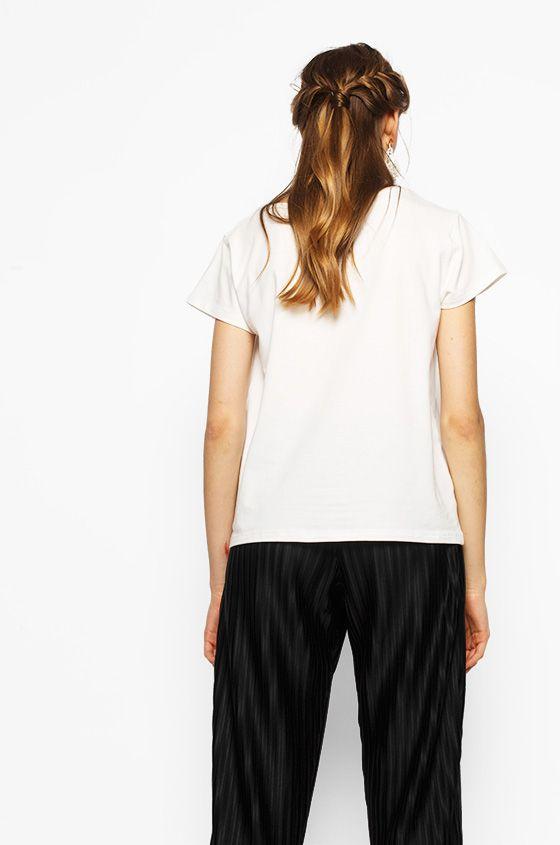 Short Sleeved Off-White Reva | COTTONINK