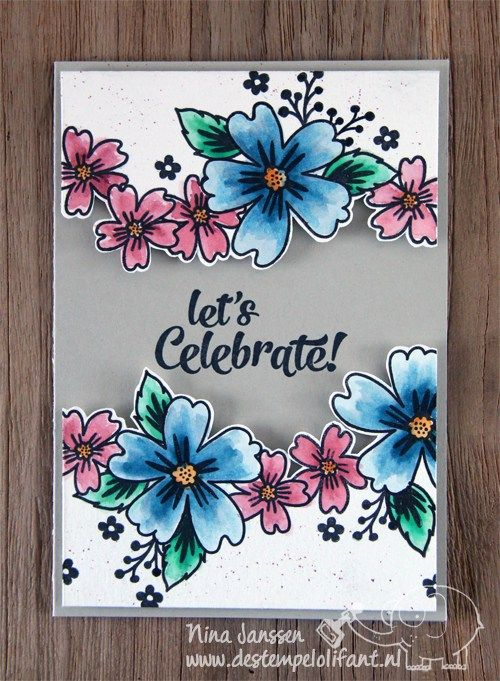 Card Making Ideas Using Acetate Part - 41: From De Stempelolifant . Card Front With Top And Bottom Popped Panels .  Borders Of Flowers With Fussy Cut Edges . Stampinu0027 Up!
