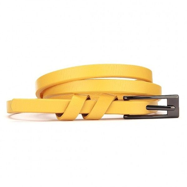Yoins Skinny Buckle Belt ($6.15) ❤ liked on Polyvore featuring accessories, belts, yellow, yellow leather belt, real leather belts, yellow belt, fake leather belt and fake belts