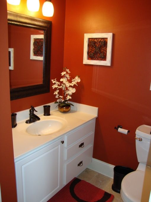 Orange bathroom walls