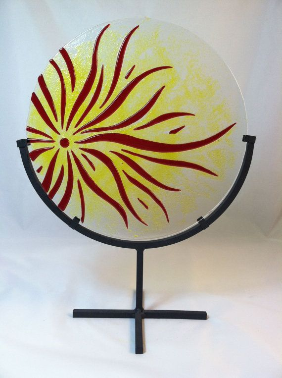 Sun Panel Suncatcher Fused Glass Art Piece by PMGlassArt on Etsy, $120.00