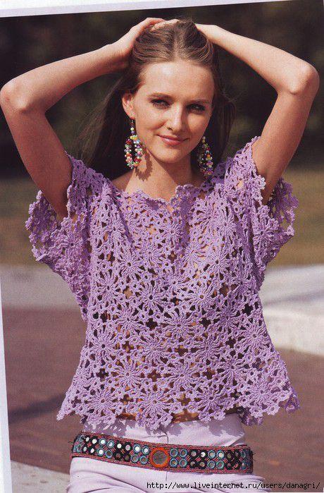 Crochetemoda: Blusa Roxa de Crochet