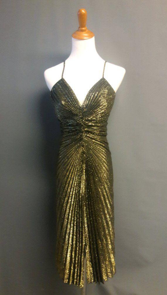Vintage Metallic Gold Radially Pleated Dress 1980s Pleated Lurex Dress Vintage Disco Dress Medium Vintage Disco Dress Lurex Dress Vamp Dress