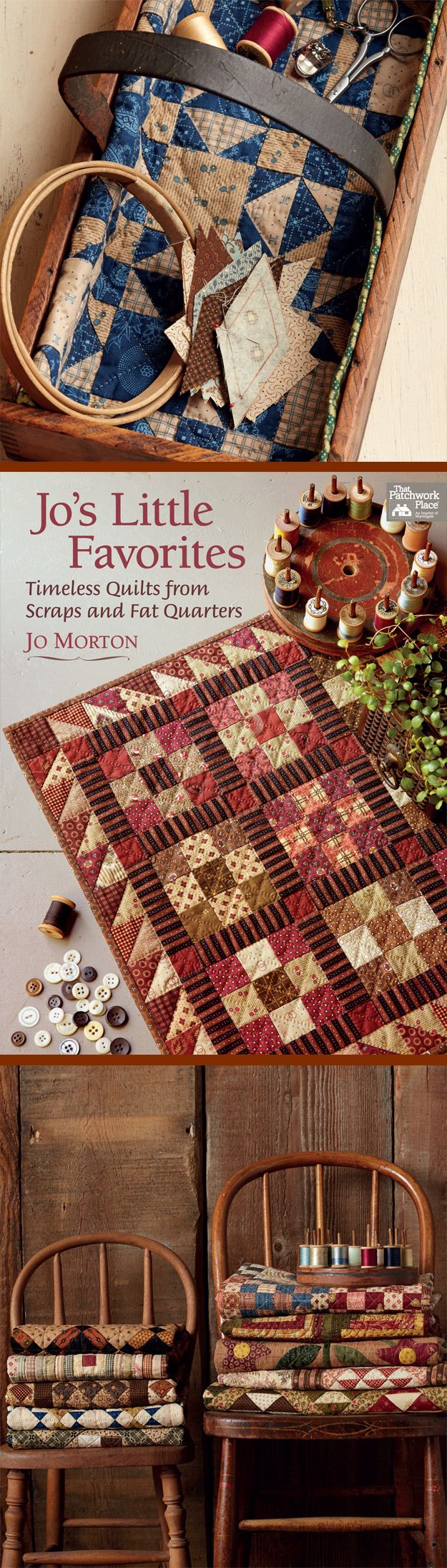 Make small quilts with your stash of reproduction scraps and fat quarters - and get cool ideas for decorating when they're finished - from quilting icon Jo Morton.