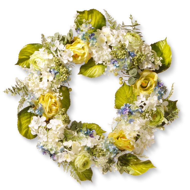 National Tree Company Spring Flowers 30-inch Artificial Wreath (White, Yellow, Blue)