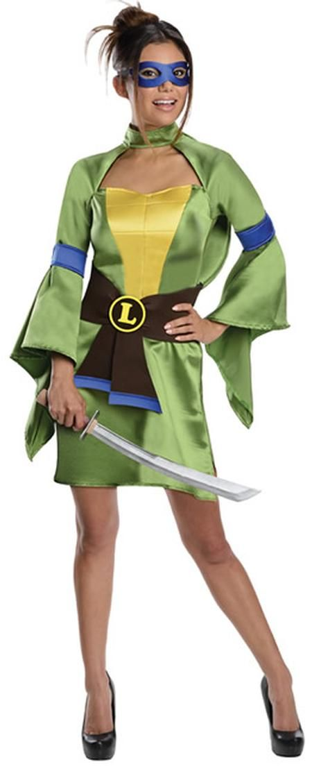 Our Sexy Leonardo Adult Teenage Mutant Ninja Turtles Costume will be a hit at any Halloween party. Everyone will rave about this women's Ninja Turtle Costume, which is the perfect costume for any Halloween event. The Sexy Leonardo Adult women's costume includes, kimono, eye mask, belt, armbands and stuffable shell. Additional Teenage Mutant Ninja Turtles costumes and accessories for the whole family are available and sold separately.