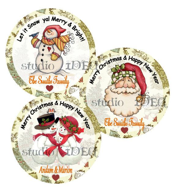 """Custom Vintage Santa Claus & Snowman 2.5"""" Printable Tags-Toppers-Christmas, Holidays Personalized Tags, DIY (You Print)-Digital File by StudioIdea on Etsy"""