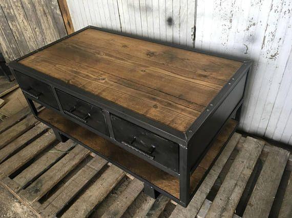 Table De Style Industriel Deux Tiroirs Industrial Style Table Industrial Style Interior Industrial Style Furniture