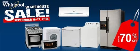 Check out Whirlpool Warehouse SALE!  Enjoy up to 70% OFF on selected Whirlpool washing machines, refrigerators, cooking ranges, microwave ovens and more!  Visit Whirlpool Stores at Bacolod, Cebu and Davao on September 16 - 17, 2016 from 10am to 5pm.  For more promo deals, VISIT http://mypromo.com.ph/! SUBSCRIPTION IS FREE! Please SHARE MyPromo Online Page to your friends to enjoy promo deals!