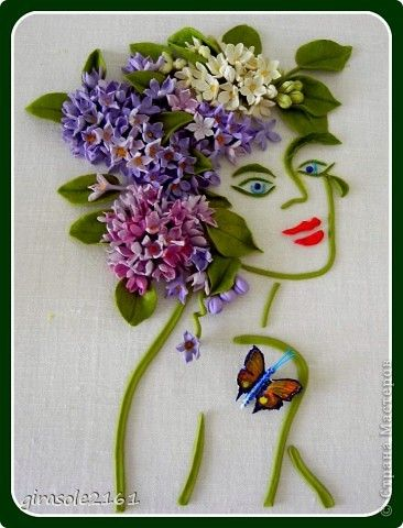 Картина панно рисунок Лепка Девушка- ВЕСНА Объемная картина Фарфор холодный фото 1
