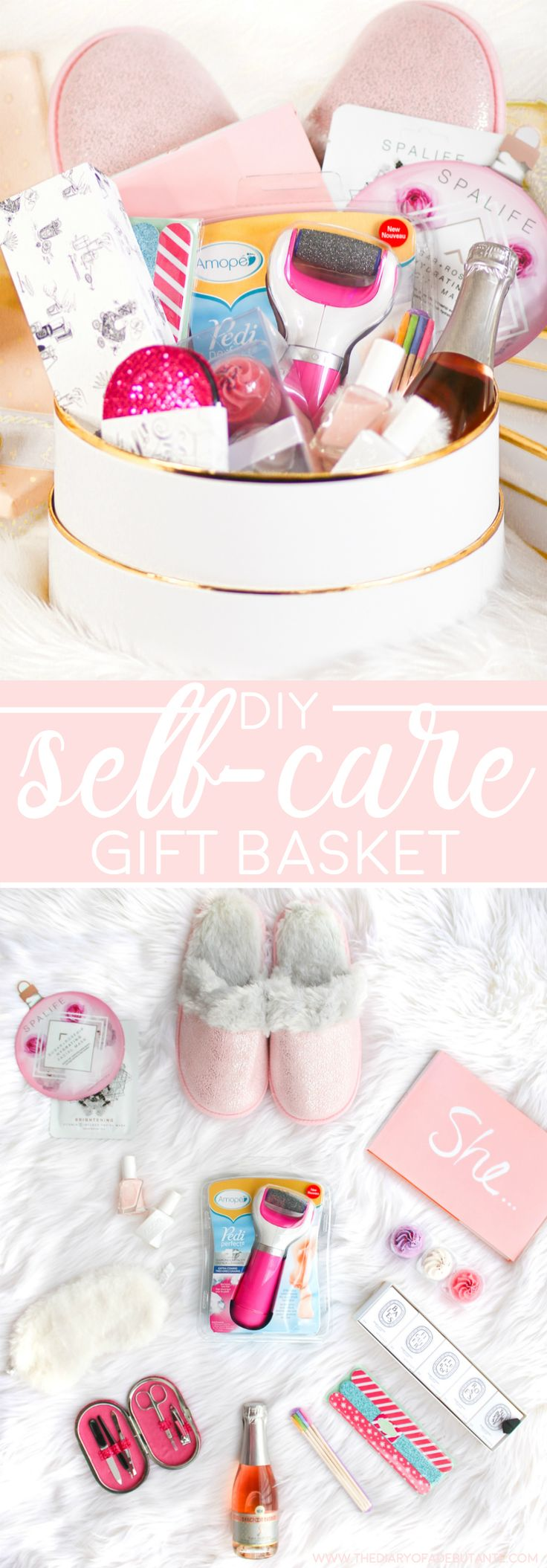 "DIY spa gift basket and 12 self-care gift ideas for anyone in need of some quality ""me"" time 