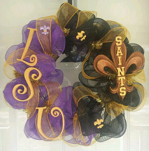 LSU/Saints Wreath by LaurenLus on Etsy...  omg!Football Seasons, Sports Wreaths, House Dividers, Front Doors, Awesome Pin, Wreaths Football, Deco Mesh Wreaths, Saint Wreaths, Geaux Tigers
