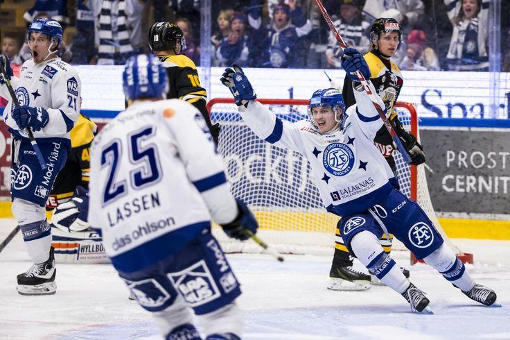 Leksands Martin Karlsson cheering, HockeyAllsvenskan 2015-16  FIGJAM