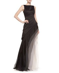 Halston Heritage  Sleeveless Ombre Tiered Gown