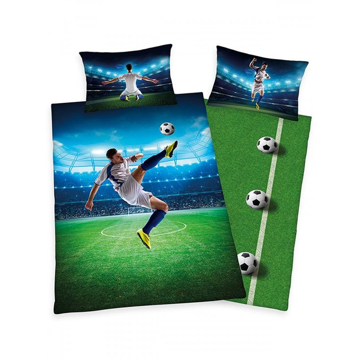 This cool Football single duvet cover set features a footballer doing a bicycle kick against a floodlit stadium backdrop, with the player in a different celebratory pose on each side of the pillowcase. The reverse of the duvet cover has a footballs and pitch themed design.