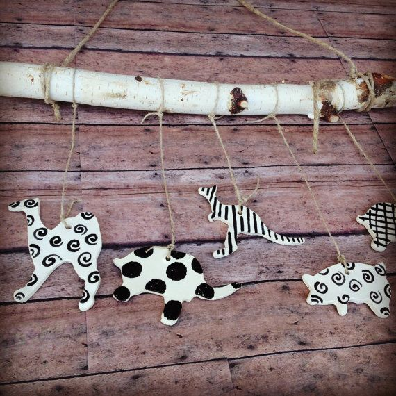 High Contrast Animal Mobile by InGodWeTrustCeramics on Etsy