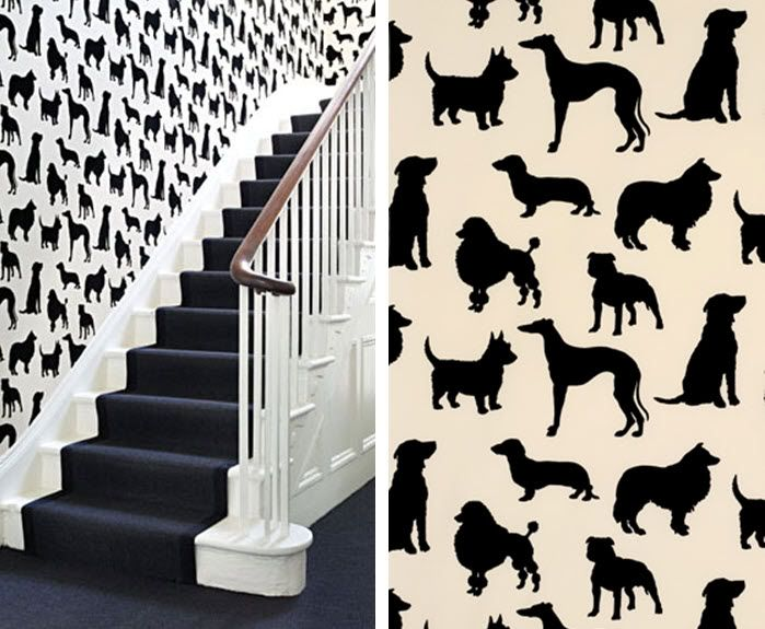 This will be available with the new website - Best in show, Silhouettes of favourite dog breeds flocked in black on to a creamy white or mid-brown £116.50 per roll