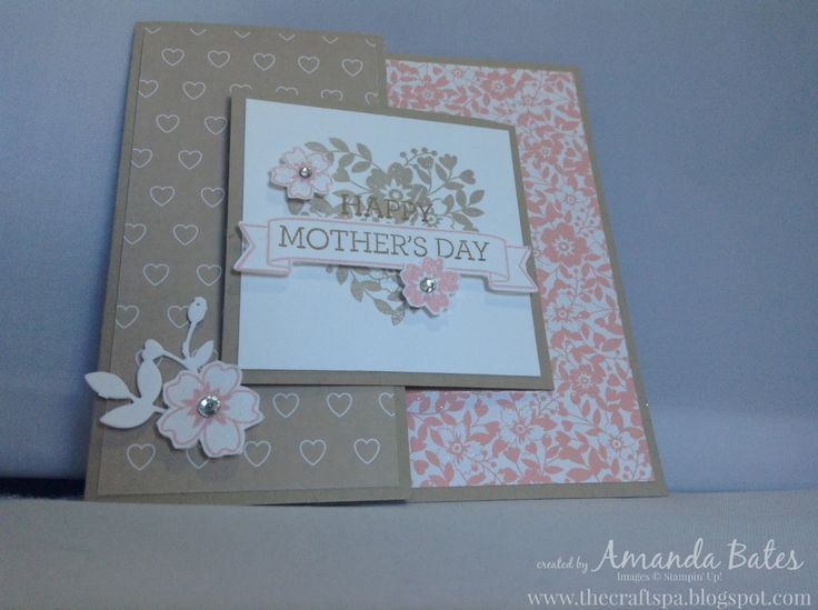"The Craft Spa - Stampin' Up! UK independent demonstrator : Bloomin' Love Mother's Day 5"" Square Joy Fold Card with Tutorial"