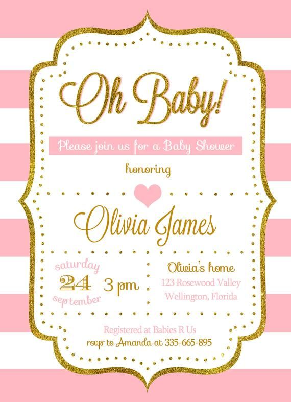 Baby Shower Invitation Girl Pink And Gold Glitter Baby