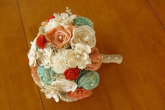 Wedding Bouquet, Sola Peach Bouquet, Mint Coral Wedding Bouquet, Alternative Bouquet, Coral Bouquet, Sola flowers, Wood Bouquet