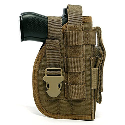 DYJ Adjustable Right Handed Tactical Molle Modular Belt Holster For Pistol(1000D) (Coyote Brown)