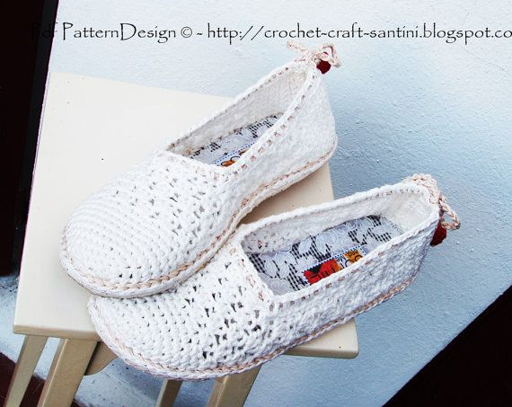 White Lace Slippers/Espadrilles Crochet by PdfPatternDesign