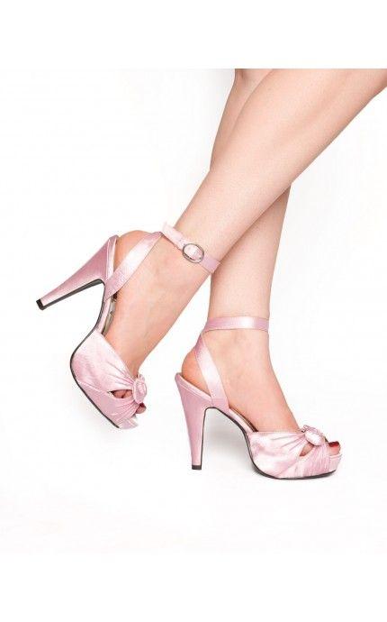 Bettie Heel in Pink Satin