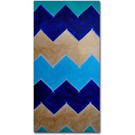 Trademark Fine Art Blue and Gold Chevron Canvas Art by Nicole Dietz, Size: 10 x 19, Multicolor