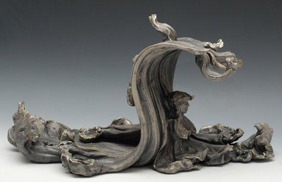 Tsunami Buddha Sculpture in Raku Ceramics by GoldenWindRaku, $495.00