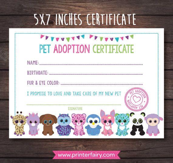Beanie Boo Adoption Certificate, Pet adoption party, Puppy adoption certificate, Puppy adoption party, Beanie Boo birthday, Beanie Boo Party