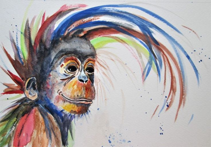 """""ORANGUTAN Smile"", Monkey Primate watercolour"" by MARJAN'S ART. Watercolour on Paper, Subject: Animals and birds, Expressive and gestural style, One of a kind artwork, Signed on the front, This artwork is sold unframed, Size: 29.7 x 20 x 0.1 cm (unframed), 11.69 x 7.87 x 0.04 in (unframed), Materials: professional watercolour paints on heavy quality 140lbs/300g paper"