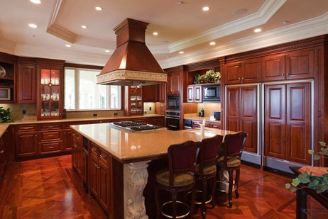 Beautiful Dark Wood Used In The Kitchen.