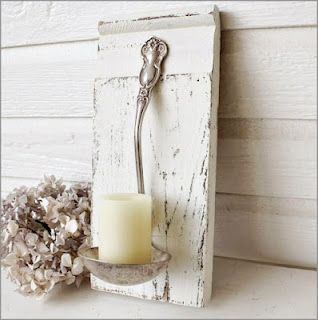 Ladle candle holder wall sconce
