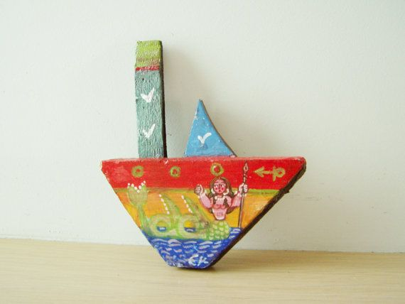 Mermaid on wooden boat folk art shabby boat by ArktosCollectibles