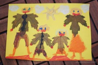 Rodzina praca plastyczna z liści Family your artwork with leaves