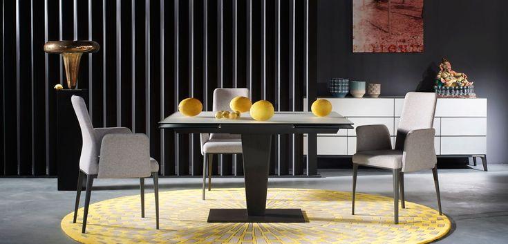 Table repas avec 2 allonges de 40 cm, plateau en verre composite 12mm, constitué d'un miroir extra-clair acidé épaisseur 4mm collé sur un verre clair ...