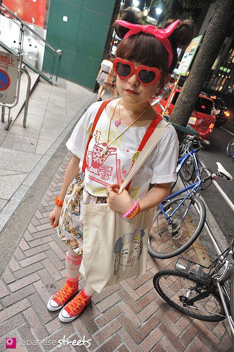 MASHIMO Shibuya, Tokyo SUMMER 2013, GIRLS Kjeld Duits STUDENT, 21  T-Shirt – Melon Skirt – Melon Tights – Melon Shoes – Converse