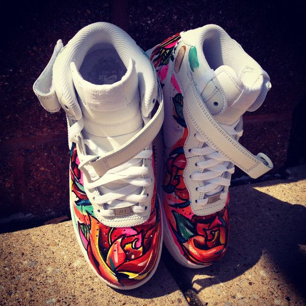 Floral Hand Painted Sierato Tattoos For Shoes Nike Air Force 1 Mids or.