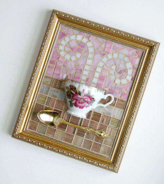 Pink Orchid Teacup Mosaic Wall Art Mixed by MashedPotatoMosaics                                                                                                                                                      More