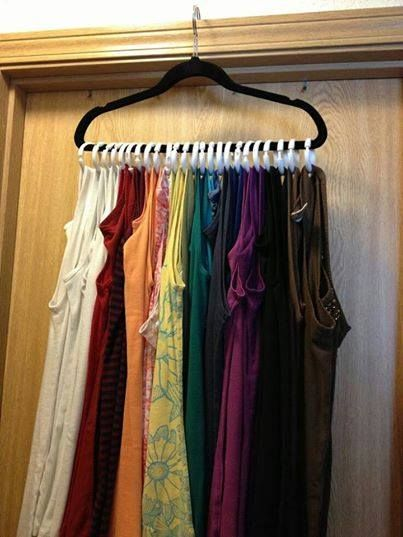 tank top hanging solution:Plastic shower curtain rings to turn your one hanger in to a mutli tank holder!!! up to 30 on this type of hanger! I also do this with my scarves!!!