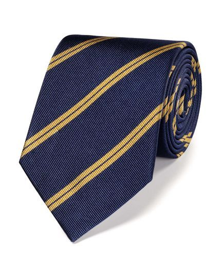 Navy and gold silk classic double stripe tie