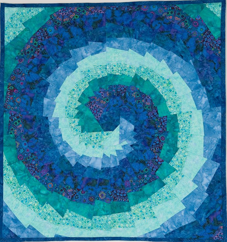 Teal Blue Spiral Art Quilt 39 Quot Square By Sharon Koppel