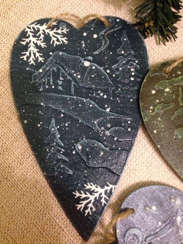 Купить Интерьерные подвески сердечки Новый год декупаж в интернет магазине на Ярмарке Мастеров