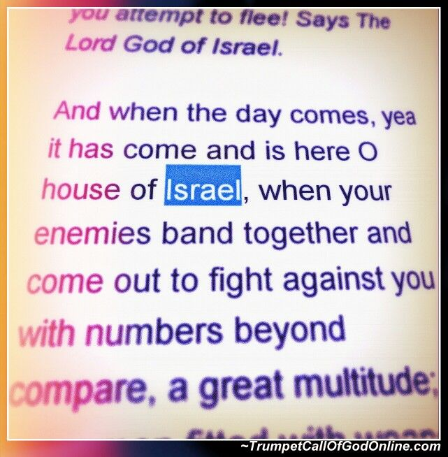 EXCERPT FROM: http://trumpetcallofgodonline.com/index.php5?title=A_Heavy_Stone%2C_a_Bitter_Burden And when the day comes, yea it has come and is here O house of Israel, when your enemies band together and come out to fight against you with numbers beyond compare, a great multitude; every man fitted with weapons of death and slaughter, an astounding company with many machines of war, a terrible army the likes of which has never been seen...    Jerusalem, O Jerusalem, shall I also forsake YOU…