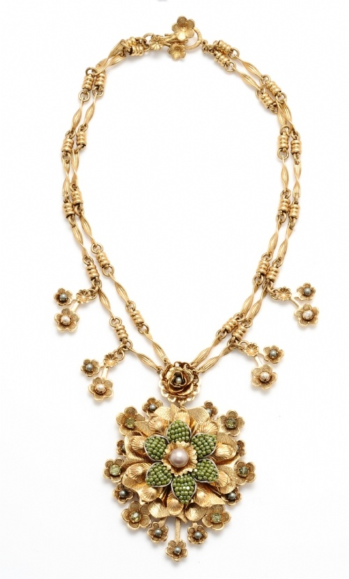 Miriam Haskell Gold Pendant Necklace