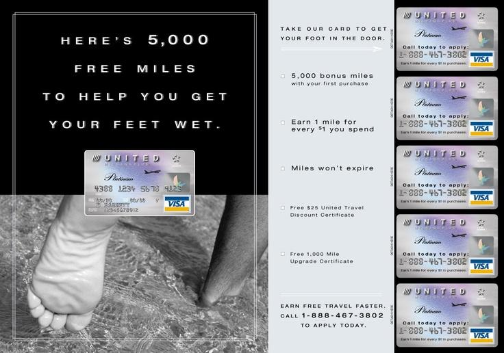 Print ad for United Mileage Plus Visa card