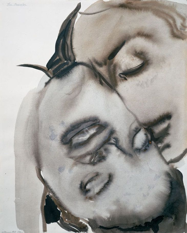 thunderstruck9:  Marlene Dumas (South African/Dutch, b. 1953), Passion, 1994. Gouache and ink on paper, 61 x 49 cm. Large image: HEREvia artemisdreaming