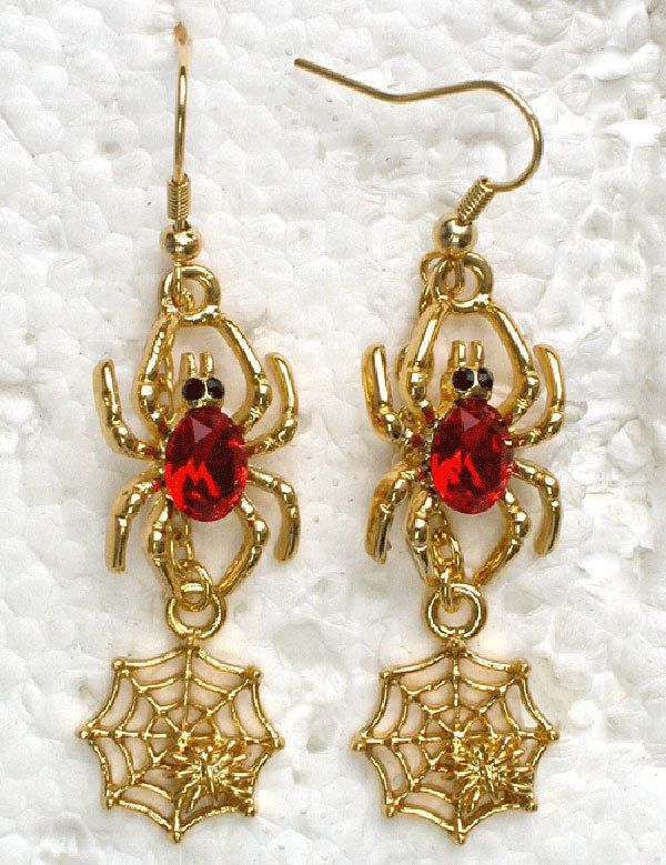 12 pair/lot красный кристалл горный хрусталь позолота паук и паутина висячие серьги ювелирные изделия A193 C2