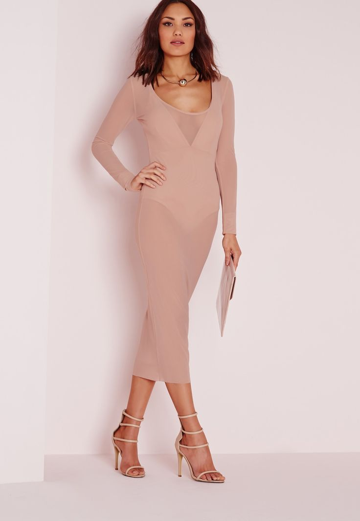 Missguided - Mesh Scoop Front Midi Dress Nude