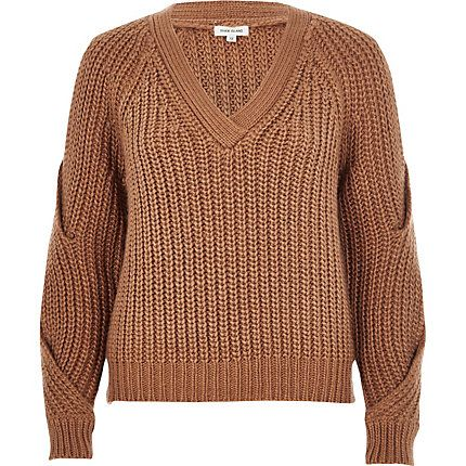 Brown chunky knit cold shoulder jumper $80.00